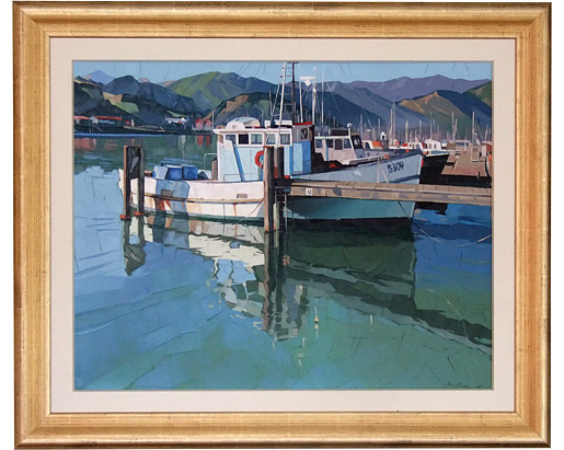 Fishing boat and hills, Nelson